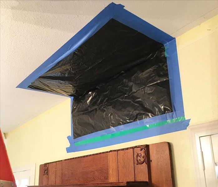 containment on mold damage in ceiling and wall