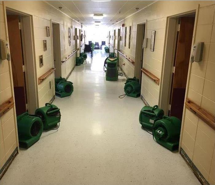 SERVPRO equipment drying inside building