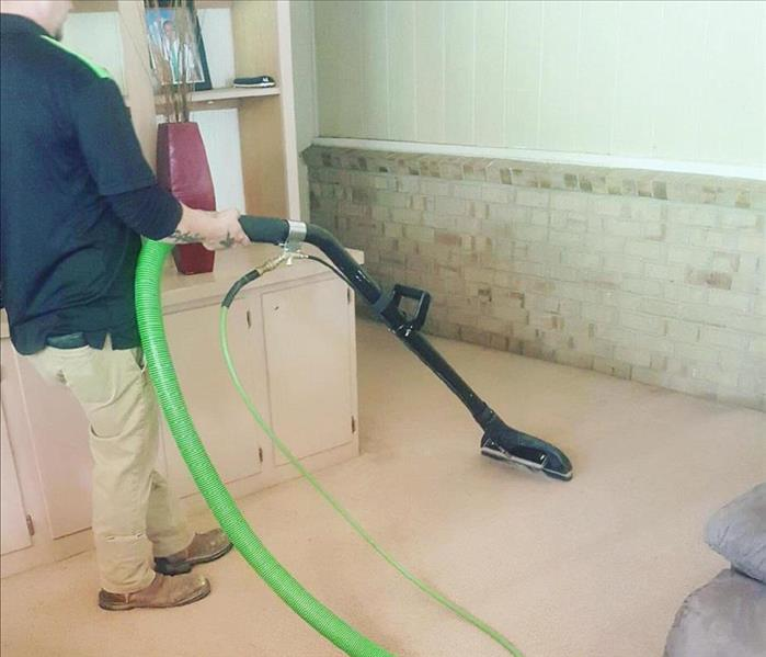 team member cleaning carpet