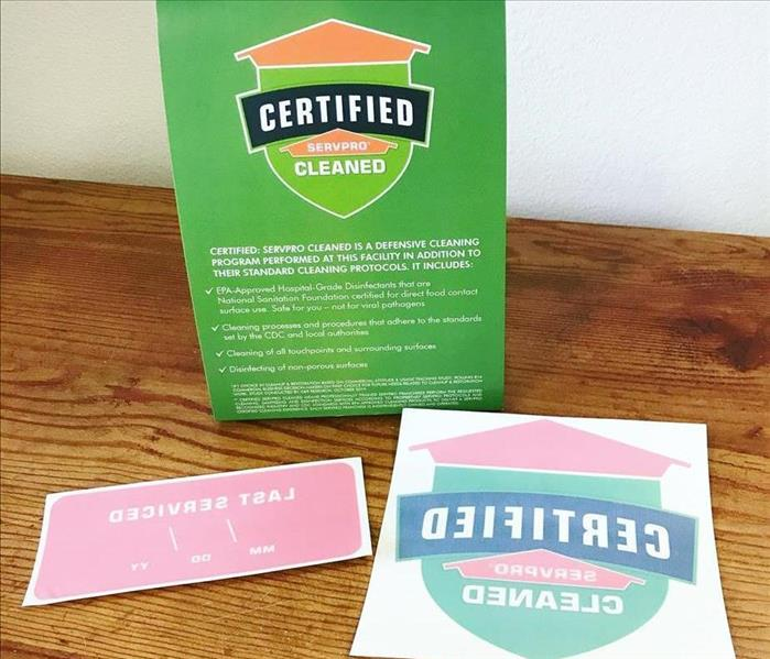 Certified: SERVPRO Cleaned decals